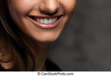 Closeup view of beautiful smile