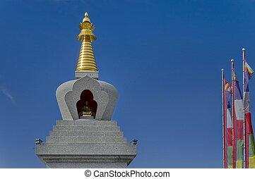 Closeup view of Buddhist stupa Sofia in the Retreat Center Plana - Diamondway Buddhism Bulgaria