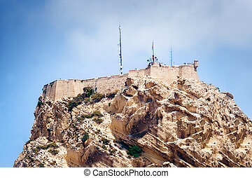 Closeup view of fortress of Santa Barbara, Alicante, Spain