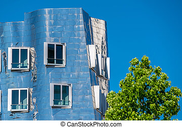 Closeup view of Frank Gehry's famous modern building at Neuer Zollhof in Dusseldorf.