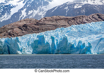 Closeup view of Grey Glacier, Torres del Paine, Patagonia, Chile