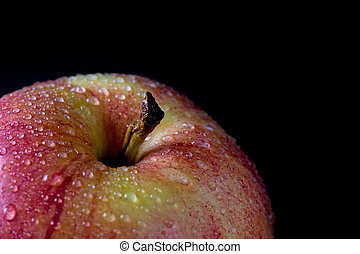 Closeup view of red apple with water drops