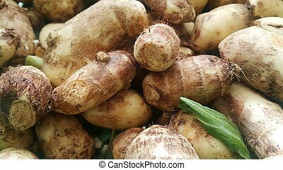 Closeup view of taro vegetable pile for sale in market