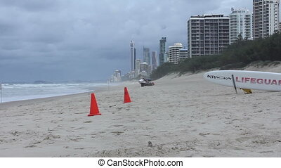 Closeup view of the shoreline. Ocean at Surfers Paradise....