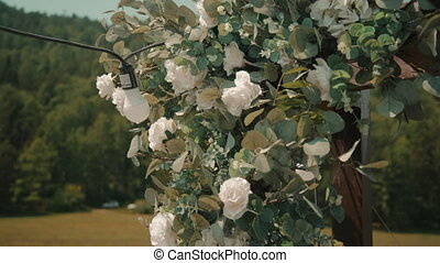 Closeup view of wedding arch decorated with white flowers and lamps outdoors on summer day. Beautiful elegant decoration consists of blooming roses and green leaves surrounding wooden structure at park in sunny warm weather. Luxurious decor is ready for festive bridal celebration of newlyweds. ...
