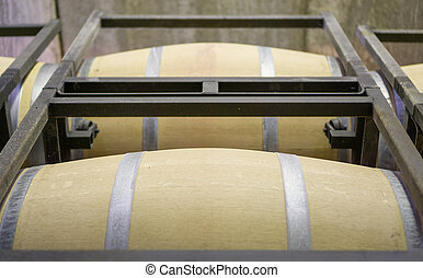 Closeup view of wine cellar with casks