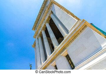 Closeup view on the Altare della Patria in Rome, Italy on a ...