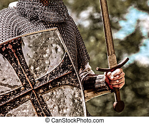 traditional medieval knight with shield and sword.
