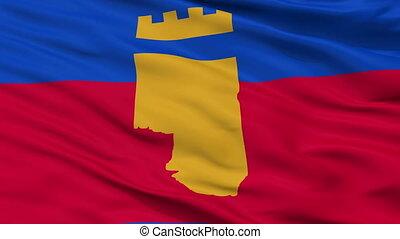 Closeup Vinica city flag, Macedonia - Vinica closeup flag,...