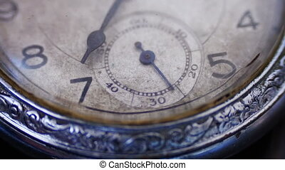 Closeup vintage clock face ticking off seconds