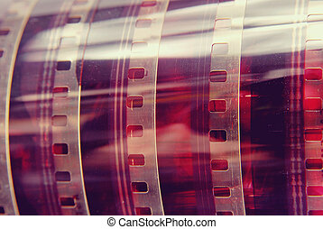 Closeup vintage photography film strip roll