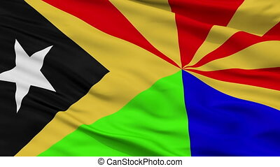 Closeup Viqueque city flag, East Timor - Viqueque closeup...