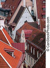 closeup, vista aérea, de, cidade velha, em, tallinn
