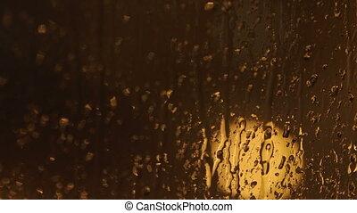 closeup, vitre, gouttes pluie, fenêtre
