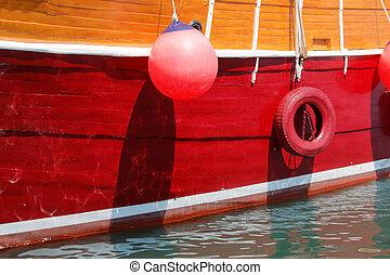closeup, von, a, schöne , groß, segelschiff
