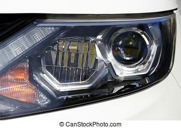 closeup, von, auto, scheinwerfer