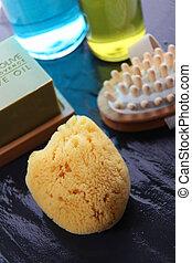 closeup, von, baden, und, massage, accessoirs