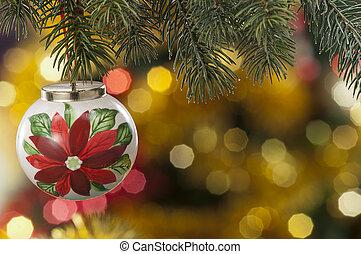closeup, von, gefärbt, weihnachten, kugeln, auf, färbte hintergrund