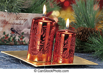 closeup, von, gefärbt, weihnachtskerzen, auf, färbte hintergrund