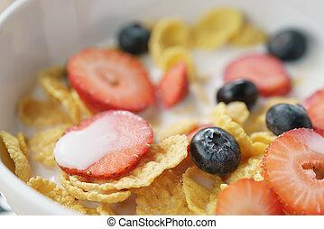 closeup, von, gesundes frühstück, mit, mais blättert, und, beeren, in, weißes, schüssel