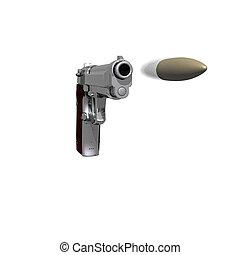 closeup, von, pistole, freigestellt, auf, a, weißes