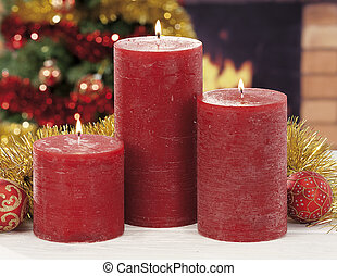 closeup, von, rotes , weihnachtskerzen