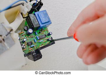 Kabel, multimeter, diagramm, gedruckten kreislauf,... Stockbild ...