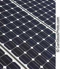 closeup, von, solarmodul, zellen, aufgestellt, auf, dach, top., solaranlage, gleichfalls, werden, ein, wichtig, teil, der, energie, mix.