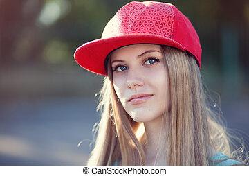 closeup, von, teenagermädchen, gesicht