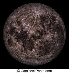 closeup, von, voll, moon.