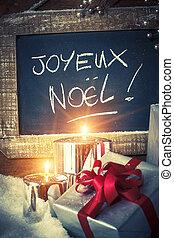 closeup, von, weihnachtsgeschenke, mit, kerzen