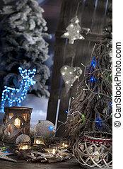 closeup, von, weihnachtskerzen, auf, fokus, hintergrund