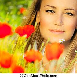 closeup vrouw, gezicht, mooi