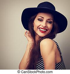 closeup vrouw, ouderwetse , jonge, helder, looking., black , lachen, verticaal, hoedje, vrolijke