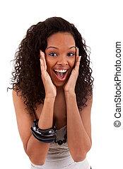 closeup vrouw, verwonderd, black , jonge, verticaal