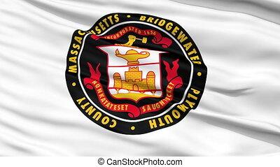 Closeup Waving National Flag of Bridgewater City, Massachusetts