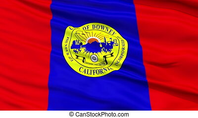 Closeup Waving National Flag of Downey City, California