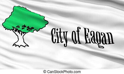 Closeup Waving National Flag of Eagan City, Minnesota