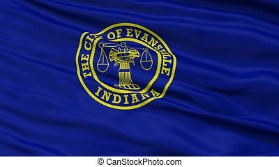 Closeup Waving National Flag of Evansville City, Indiana -...