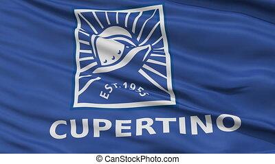Closeup Waving National Flag of Cupertino City, California