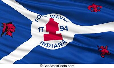 Closeup Waving National Flag of Fort Wayne City, Indiana -...