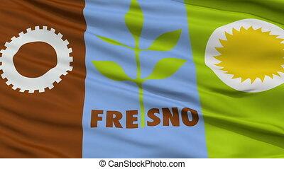 Closeup Waving National Flag of Fresno City, California -...