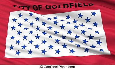 Closeup Waving National Flag of Goldfield City, Colorado