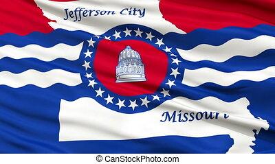 Closeup Waving National Flag of Jefferson City, Missouri
