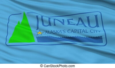 Closeup Waving National Flag of Juneau City, Alaska - Juneau...