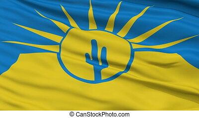 Closeup Waving National Flag of Mesa City, Arizona - Mesa...