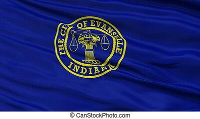 Closeup Waving National Flag of Evansville City, Indiana