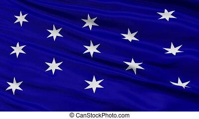 Closeup Waving National Flag of Washington City, New York