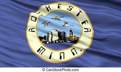 Closeup Waving National Flag of Rochester City, Minnesota
