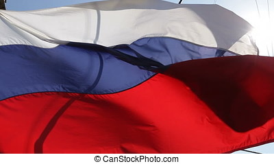 Closeup Waving Russian Ensign Flag - Closeup of waving...